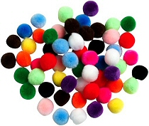 Pom Poms 20mm Assorted Colours (Pack 50)