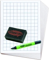Class Pack 2cm Grided/Blank Whiteboard Set (30 x A4 1000 micron 2cm Grided/Blank Boards & Dry-Wipe Pens, 35 x Erasers)