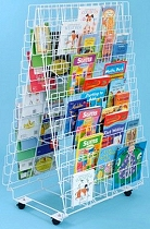 Double Sided Mobile Floor Standing Book Rack