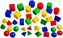 3D Plastic Mini Geometric Solids 2.5cm (10 shapes, 4 Colours, Set 40)