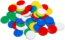 Round Counters 5 Assorted Colours 22mm (Bag 100)