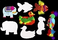 Large Collage Shapes Animals (Pack 24)