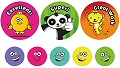 Praise Word Animals & Smiley Face Stickers 35mm & 10mm (A4 sheet 69 stickers)
