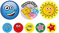 Praise Word Stars & Smiley Face Stickers 25mm & 10mm (A4 sheet 131 stickers)