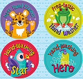 Hooray for Handwashing Stickers 31mm (72 stickers)