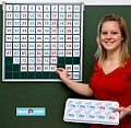 Blank Hundred Square Board with Magnetic Number Tiles 1-100