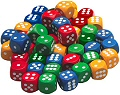 6 Dot Dice 16mm Assorted Colours (Set 40)