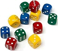 6 Dot Dice 18mm Assorted Colours (Set 12)