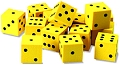 Foam 6 Dot Dice 18mm Yellow (Set 12)