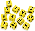 Foam Number Dice 1-6 18mm Yellow (Set 12)